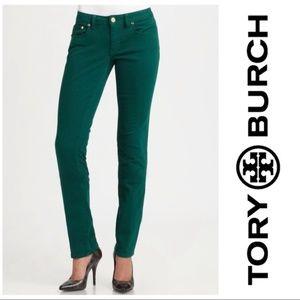 TORY BURCH 25 Green Super Skinny Jeans